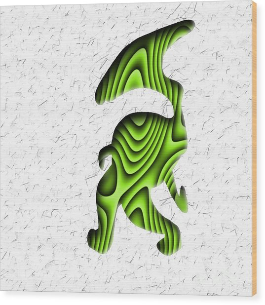 Abstract Monster Cut-out Series - Green Stroll Wood Print