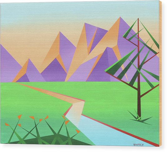Abstract Mountain River At Sunset With Flowers Painting Wood Print by Mark Webster
