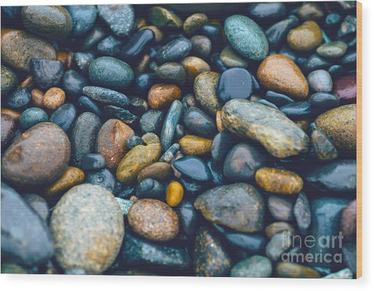 Abstract Nature Tropical Beach Pebbles 923 Blue Wood Print