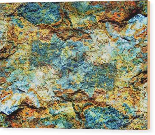 Abstract Nature Tropical Beach Rock Blue Yellow And Orange Macro Photo 472 Wood Print