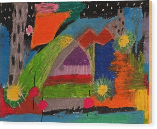 Abstract No. 7 Inner Landscape Wood Print