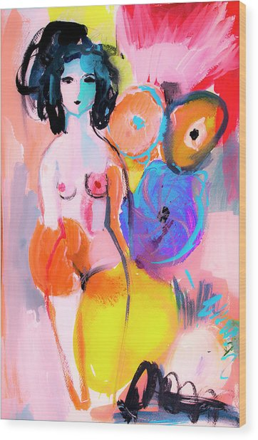 Abstract Nude With Flowers Wood Print
