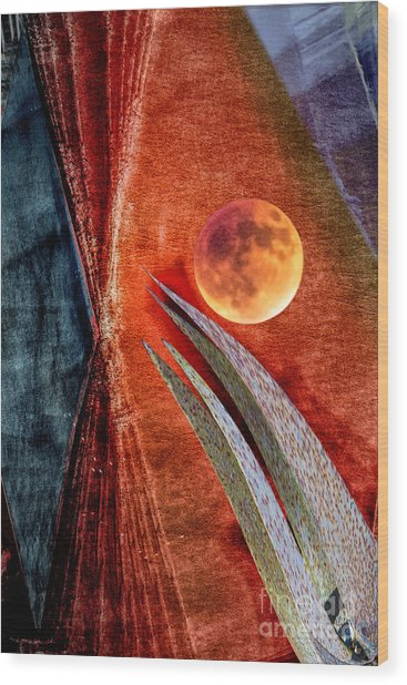 Abstract On Moon Wood Print