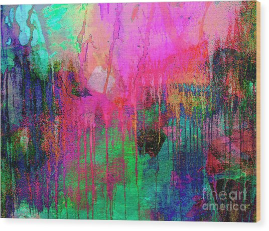 Abstract Painting 621 Pink Green Orange Blue Wood Print