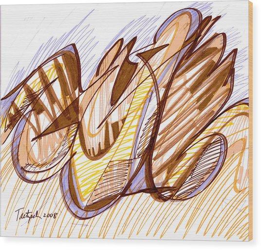 Abstract Pen Drawing Nine Wood Print