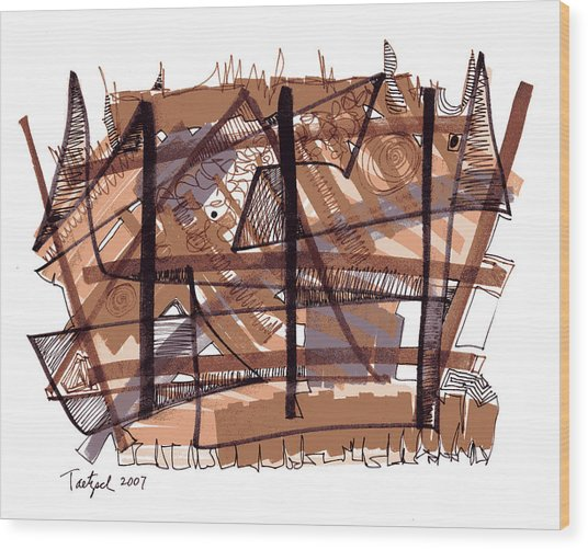 Abstract Pen Drawing Twelve Wood Print
