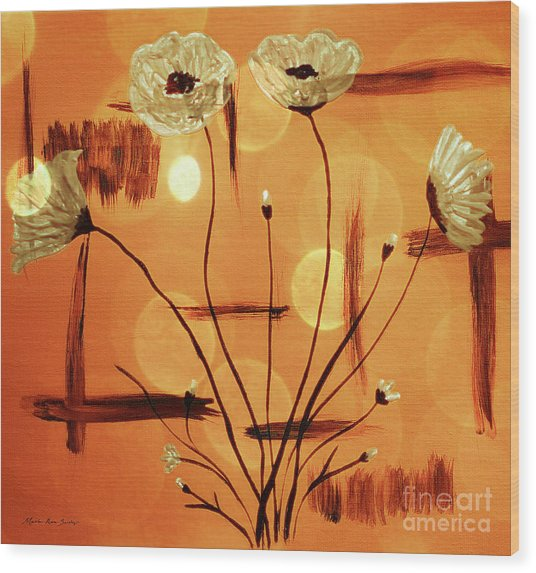 Wood Print featuring the painting Abstract Poppies Series C42016 by Mas Art Studio