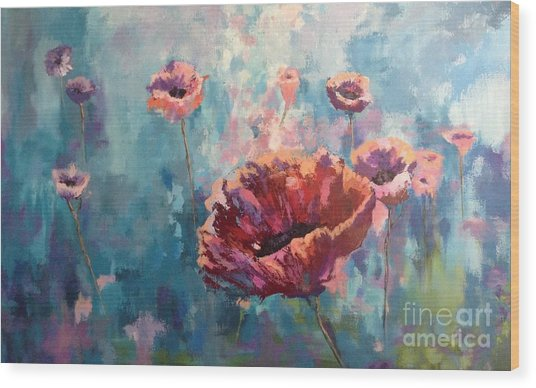 Abstract Poppy Wood Print