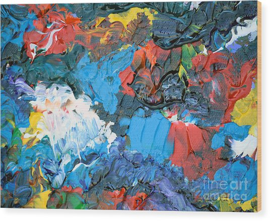 Wood Print featuring the painting Abstract Q1112a  by Mas Art Studio