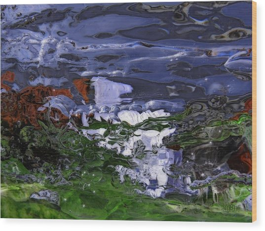 Abstract Rapids Wood Print