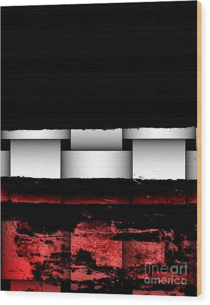 Abstract Red And Black Ll Wood Print by Marsha Heiken