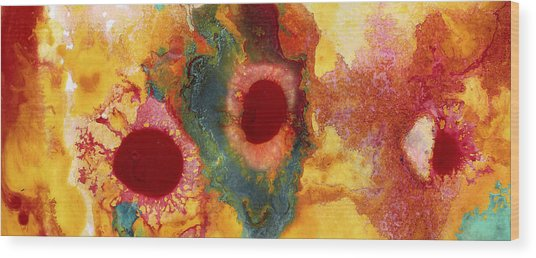 Abstract Red Flower Garden Panoramic Wood Print