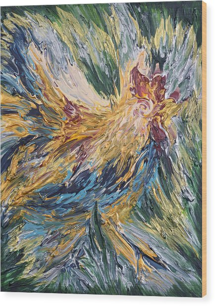 Abstract Guam Rooster Wood Print