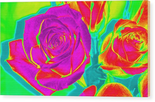 Blooming Roses Abstract Wood Print
