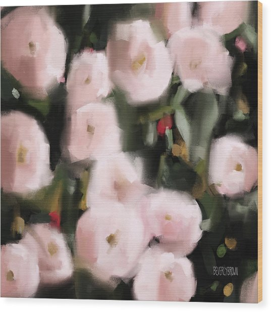 Abstract Roses Peach And Light Pink Wood Print