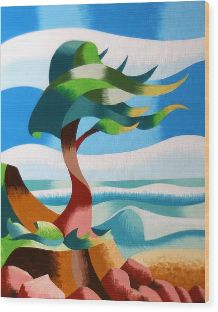 Abstract Rough Futurist Cypress Tree Wood Print by Mark Webster