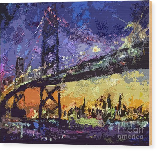 Abstract San Francisco Oakland Bay Bridge At Night Wood Print