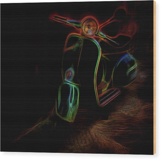 Abstract Scooter Wood Print by Elijah Knight