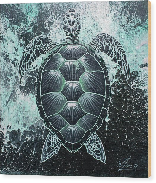Abstract Sea Turtle Wood Print