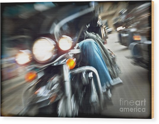 Abstract Slow Motion Bikers Riding Motorbikes Wood Print by Anna Om