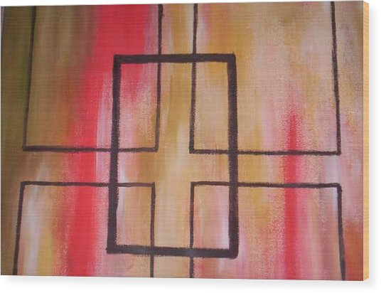 Abstract Squares Wood Print by Becca Haney