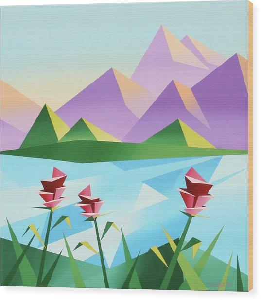 Abstract Sunrise At The Mountain Lake 2 Wood Print by Mark Webster