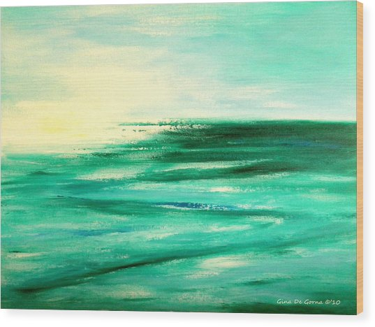 Abstract Sunset In Blue And Green Wood Print