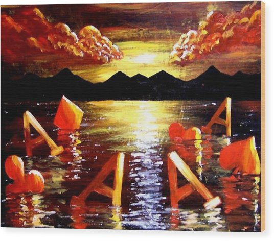 Abstract Sunset Landscape Seascape Floating Aces Suits Poker Art Decor Wood Print by Teo Alfonso