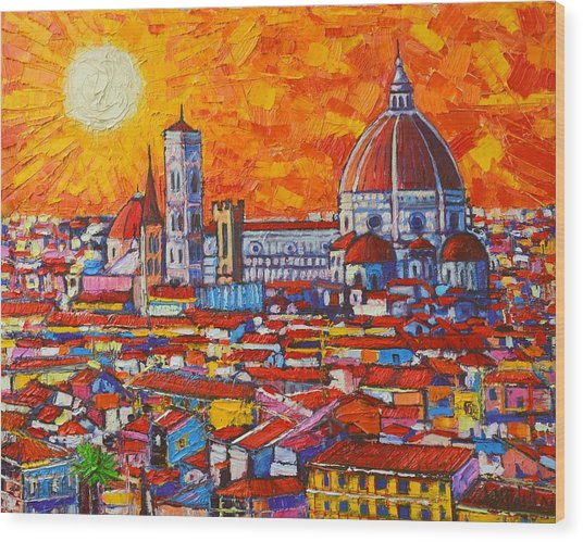 Abstract Sunset Over Duomo In Florence Italy Wood Print