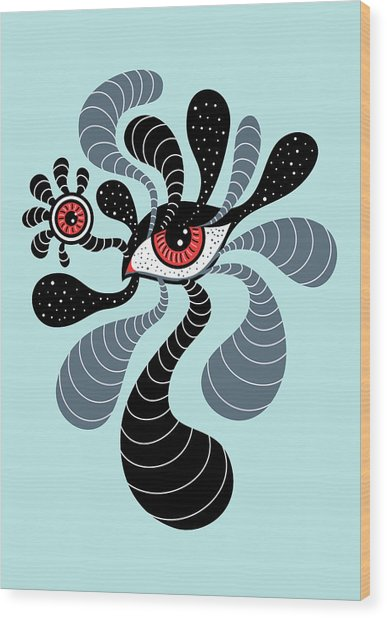 Abstract Surreal Double Red Eye Wood Print
