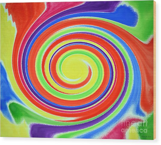 Wood Print featuring the painting Abstract Swirl A1 1215 by Mas Art Studio