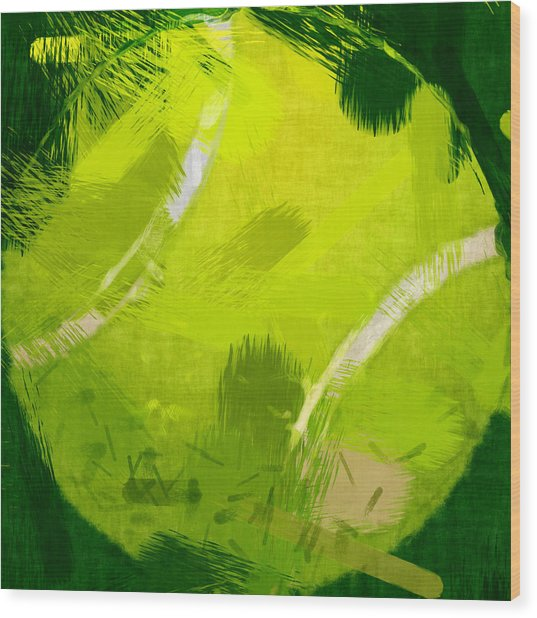 Abstract Tennis Ball Wood Print