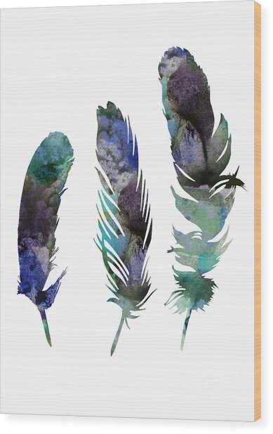 Abstract Three Feathers Watercolor Painting Wood Print