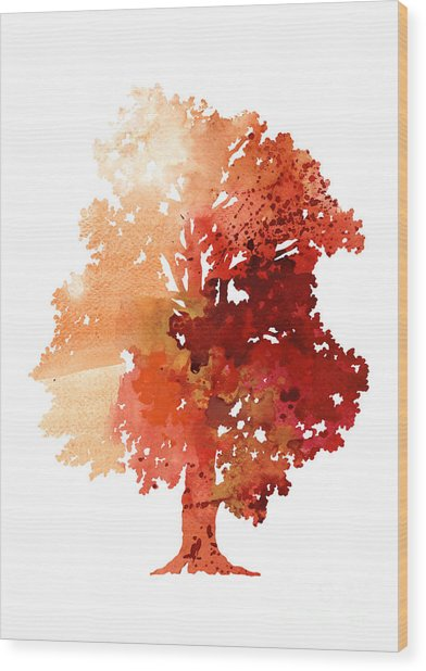 Abstract Tree Watercolor Poster Wood Print