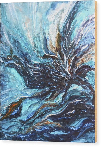 Abstract Water Dragon Wood Print