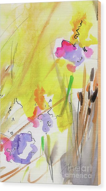 Abstract Watercolor Summer Splender Wood Print