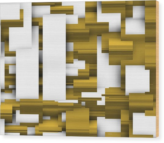 Abstract White And Gold. Wood Print