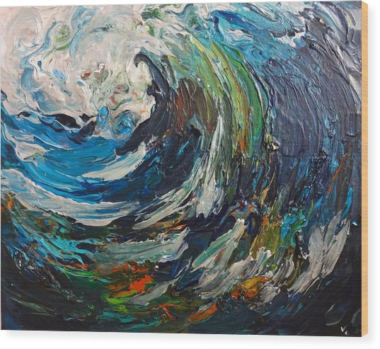 Abstract Wild Wave  Wood Print