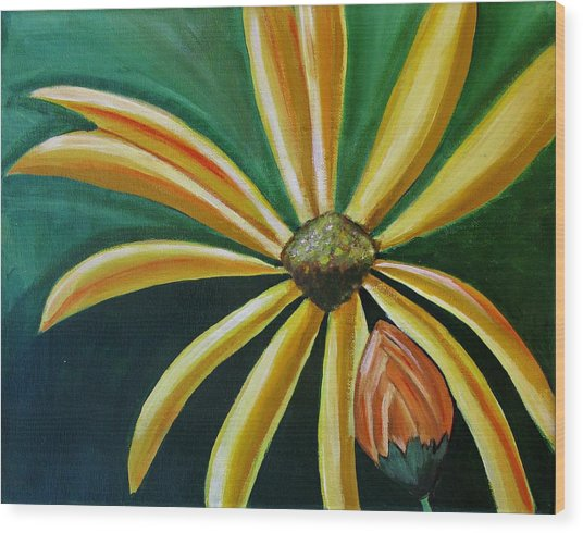 Abstract Yellow Sunflower Art Floral Painting Wood Print