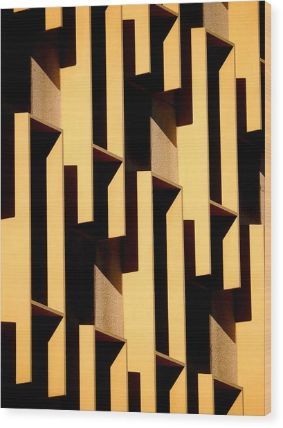 State Building Abstract Wood Print