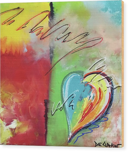Abstract With Heart Wood Print