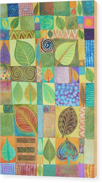 Abstract With Leaves Wood Print by Jennifer Baird