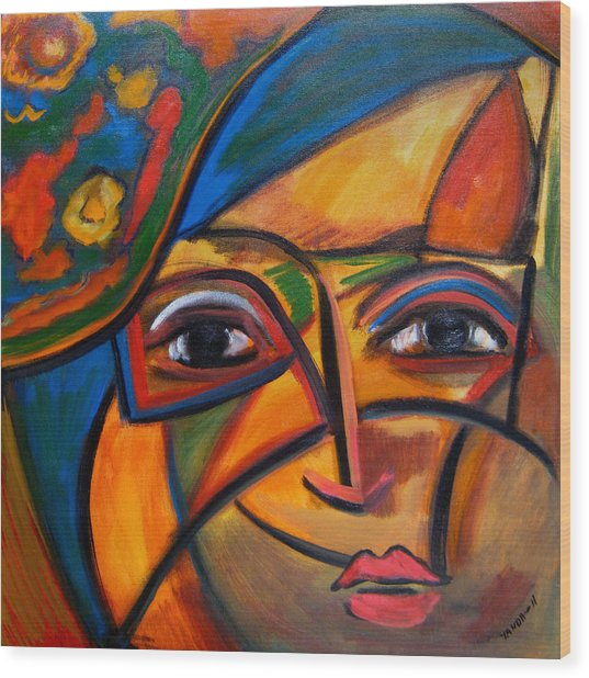 Abstract Woman With Flower Hat Wood Print