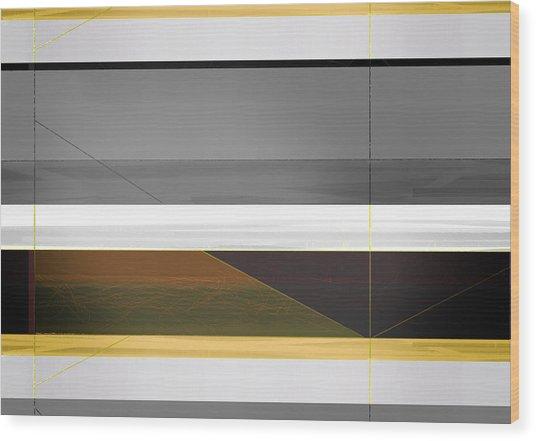 Abstract Yellow And Grey  Wood Print