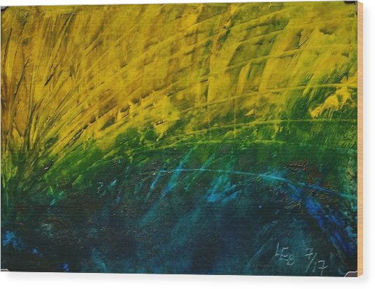 Abstract Yellow, Green With Dark Blue.   Wood Print
