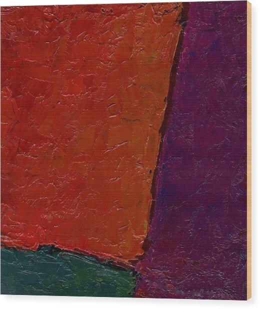 Abstraction Xv Orange Crush Wood Print by Chris  Riley