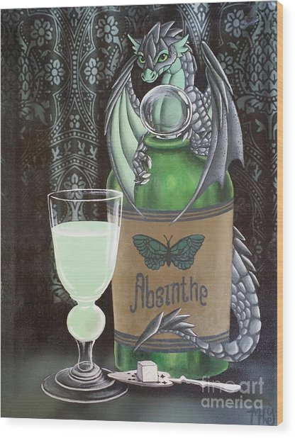 Wood Print featuring the painting Absinthe Dragon by Mary Hoy