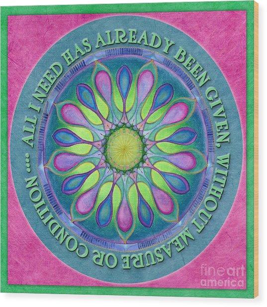 Abundance Mandala Prayer Wood Print