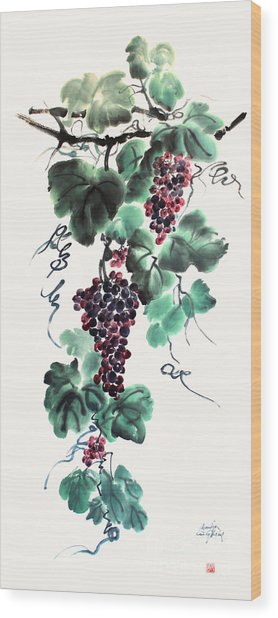 Abundant Grapes Wood Print by Nadja Van Ghelue