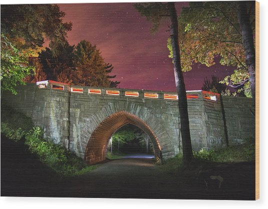 Acadia Carriage Bridge Under The Stars Wood Print